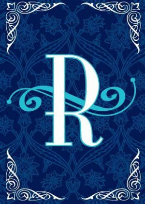 Blue Teal Monogram-R Flag | Monogram Flags | Winter Flags | Yard Flags