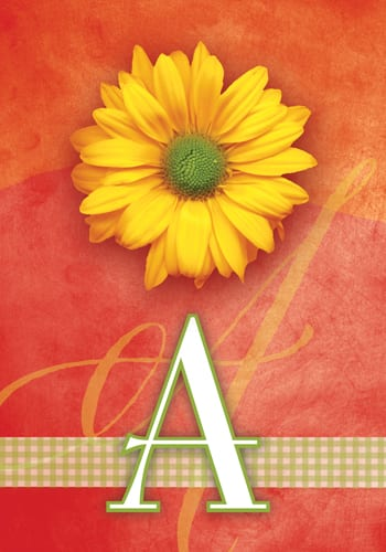 Yellow Daisy Monogram - A Flag | Monogram Flags | Garden House Flags