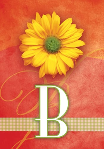 Yellow Daisy Monogram - B Flag | Monogram Flags | Garden House Flags