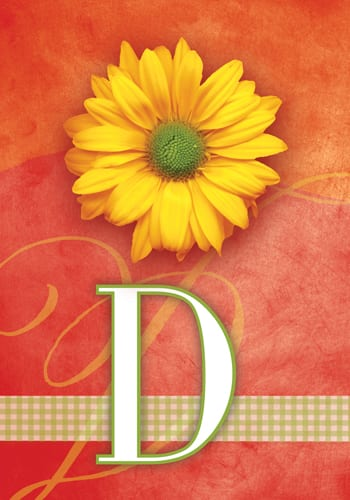 Yellow Daisy Monogram - D Flag | Monogram Flags | Garden House Flags
