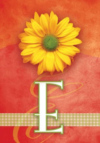 Yellow Daisy Monogram-E Flag | Monogram Flags | Floral Flag | Yard Flag
