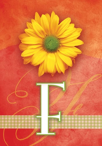 Yellow Daisy Monogram - F Flag | Monogram Flags | Garden House Flags