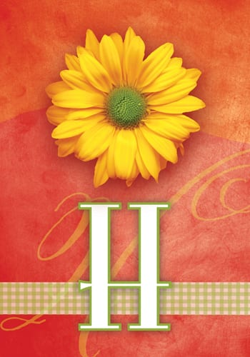 Yellow Daisy Monogram - H Flag | Monogram Flags | Garden House Flags