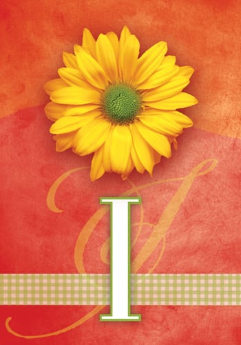 Yellow Daisy Monogram - I Flag | Monogram Flags | Garden House Flags