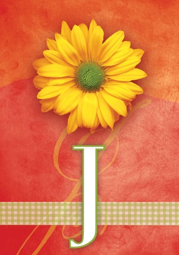 Yellow Daisy Monogram - J Flag | Monogram Flags | Garden House Flags