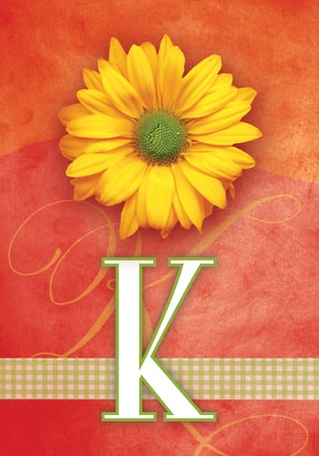 Yellow Daisy Monogram - K Flag | Monogram Flags | Garden House Flags
