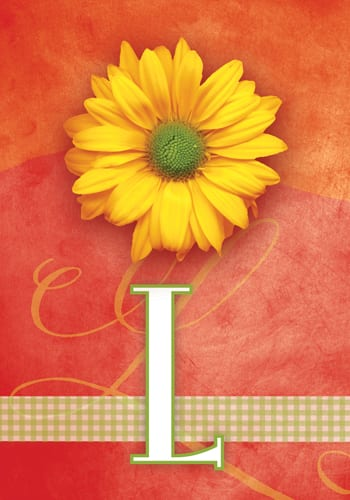 Yellow Daisy Monogram - L Flag | Monogram Flags | Garden House Flags