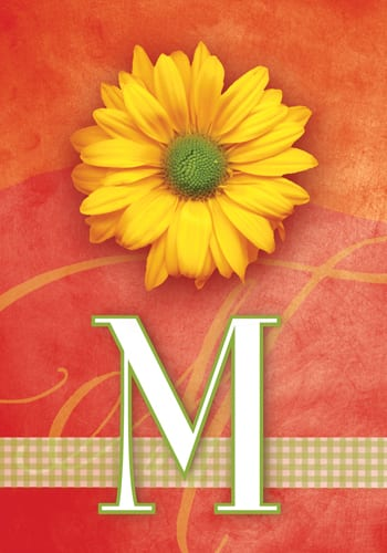 Yellow Daisy Monogram - M Flag | Monogram Flags | Garden House Flags