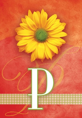 Yellow Daisy Monogram - P Flag | Monogram Flags | Flags | Garden House Flags