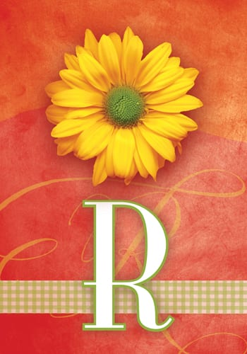 Yellow Daisy Monogram - R Flag | Monogram Flags | Garden House Flags