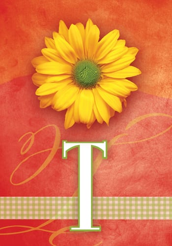 Yellow Daisy Monogram - T Flag | Monogram Flags | Garden House Flags