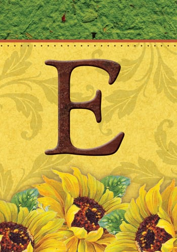 Sunflower Monogram - E Flag | Decorative Monogram Flags | Garden House Flags