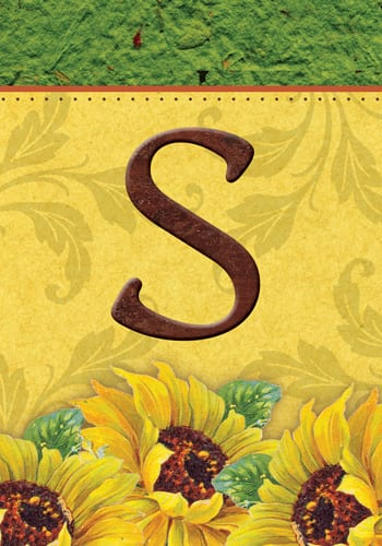 Sunflower Monogram - S Flag | Decorative Monogram Flags | Garden House Flags