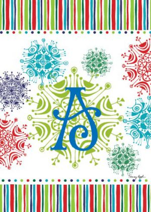 Snowflake Monogram-A Flag | Monogram Flags | Winter Flags | Cool Flags