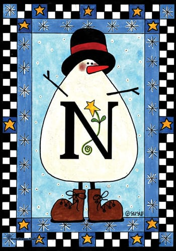Snowman Monogram - N Flag | Monogram Flags | Garden House Flags