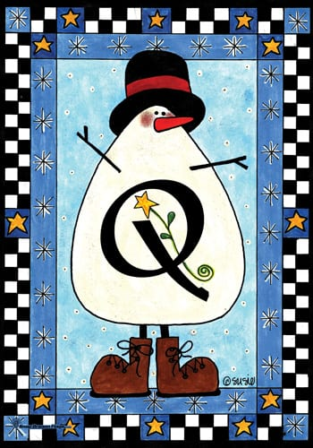 Snowman Monogram - Q Flag | Monogram Flags | Garden House Flags