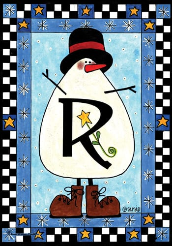 Snowman Monogram - R Flag | Monogram Flags | Garden House Flags