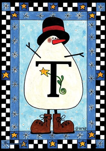 Snowman Monogram - T Flag | Monogram Flags | Garden House Flags