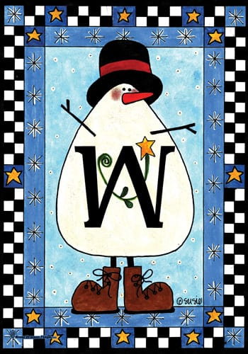 Snowman Monogram - W Flag | Monogram Flags | Garden House Flags