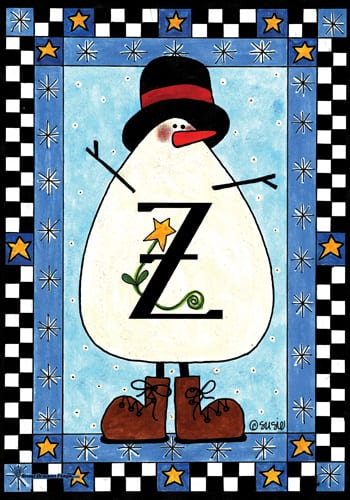 Snowman Monogram - Z Flag | Monogram Flags | Garden House Flags